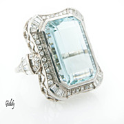 20.6Ct Art Deco Aquamarine Ring *Platinum *1.63Cts Diamonds