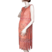 Beaded Salmon Silk Chiffon Flapper Dress *1920's *39&quot;BWH