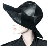 1970's Yves Saint Laurent Black Felt *Leather Patchwork Hat *22""