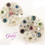 Weiss Pearlized Thermoplastic Rhinestone Wave Earrings