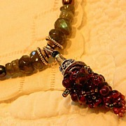 "Handcrafted Garnet Grape Cluster Necklace ""Juicy Tidbits"""