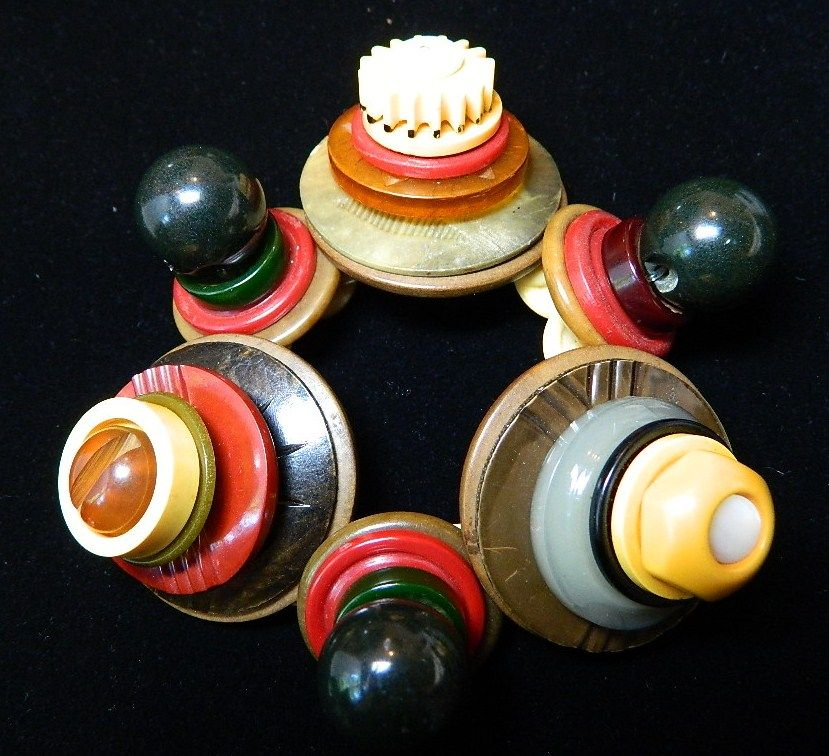 Big and Bold Button Bracelet  &quot; Hot Peppers&quot;
