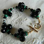 "Victorian Black Glass Ball Button Bracelet "" A-Wrist-O-Crat"""