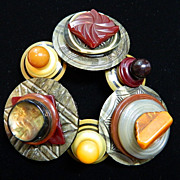 "SOLD Celluloid and Bakelite Handcrafted Button Bracelet ""Ready to Rhumba"""