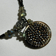 "Antique Button Pendant Necklace  "" Glistening Intently"""