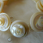 Mother of Pearl Button Bracelet &quot; Pearls of Wisdom&quot;