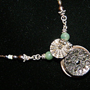 "Handcrafted Antique Button Pendant Necklace  ""Victoria by the Sea"""