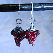 Handcrafted Garnet Grape Cluster Earrings