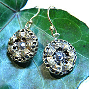 Openwork Brass Antique Buttons Earrings