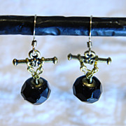 Antique Black Glass Ball Button Earrings
