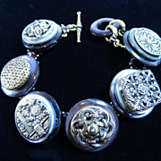 "Ornate Brass Button Bracelet  ""Splendor in the Brass"""