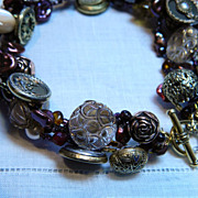 "Handcrafted Button Bracelet "" The English Rose Garden"""