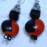 Black and Red Huayruro Seed Earrings