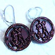 Antique Metal Button Earrings with Mythical Theme