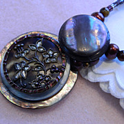 Handcrafted Button Pendant Necklace &quot;  Diggin' the Earth&quot;