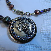 "Handcrafted Pendant Necklace with Victorian Metal Button ""Vine and Dandy"""