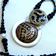 "Handcrafted Button Pendant Necklace ""Enamored Empress"""