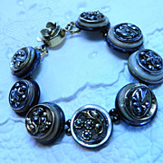 Handcrafted Bracelet with Victorian Metal Buttons  &quot;Morning Dew&quot;