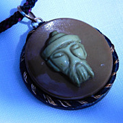 "Oriental Themed Celluloid Button Pendant Necklace ""Quiet Kindness"""