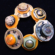 "Handcrafted Celluloid and Bone Button Button Bracelet ""Orange Zest"""