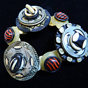 "SOLD Celluloid and Bone Button Bracelet     ""Joyful Noise"""