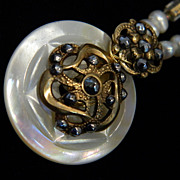 Victorian Openwork Brass and Cut Steel Button Pendant Necklace  &quot;Mother and Daughter's Da