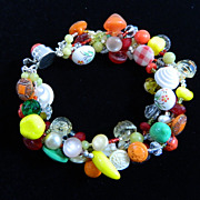 "Summer Colors Handcrafted Button and Glass Fruit Bracelet    "" Rhumba Rhythm """