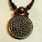"Handcrafted Button Pendant Necklace  ""Scintillation"""