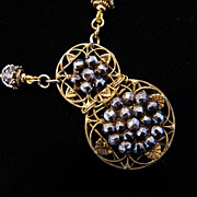 Brass and Cut Steel Button Pendant Necklace &quot;Openwork Opera&quot;