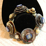 "Mother of Pearl Button Bracelet  ""Blue Bells Cockle Shells"""