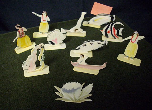 Adorable  Miniature Celluloid Place Card Holders