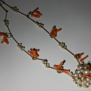 Miriam Haskell Style Coral and Pearl Necklace