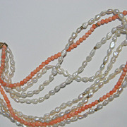 14k Four Strand Angel Skin Coral Bead and Seed Pearl Necklace