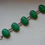 Sterling Jade Green Serpentine Bracelet