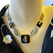 Rare Art Deco Czech Enamel on Necklace and Bracelet Set - green, black enamel on brass