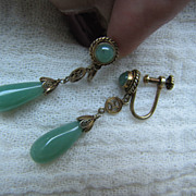 Vintage Chinese Green Jade Drops Earrings Gold over Silver Filigree 43 mm long