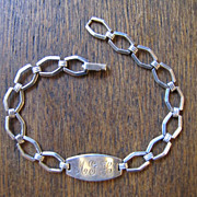 SALE Art Deco Silver Linked Bracelet with Engraved Plaque MGH
