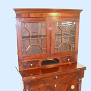 Diminutive American Two piece Mahogany  Bookcase Secretary Desk 1820