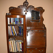 Beautiful Oak Side By Side Bookcase Secretary