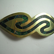 "5"" Los Castillos Taxco Inlaid Belt Buckle"