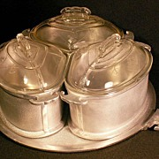 SALE Guardian Ware Roaster Trio w/Glass and/or Metal Lids & Serving Tray