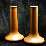 SALE Hall Art Pottery Bud Vases/Candle Holder - Chocolate Matte Finish