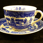 SALE Blue Willow Teacup & Saucer - Occupied Japan