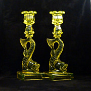 SALE Vaseline Dolphin Candlestick Holders - Imperial for MMA