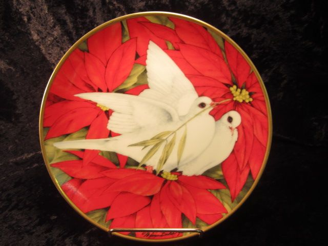 """Christmas Doves"" Plate by Maureen Jensen, 1990"
