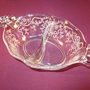 Divided Mayonnaise Dish by Fostoria in the &quot;Corsage&quot; pattern