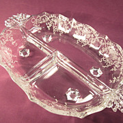 Fostoria 3 Part Relish Dish &quot;Corsage&quot; Pattern