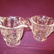 Fostoria &quot;Meadow Rose&quot; Individual Footed Sugar and Creamer