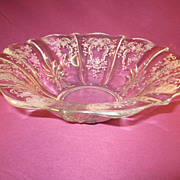 Fostoria &quot;Meadow Rose&quot; 11&quot; Fared Bowl