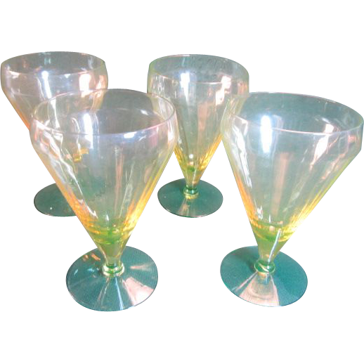 Czech Vaseline & Emerald Inverted Lip glasses -Set of 4